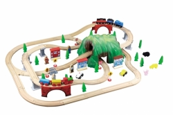 Wooden Train Set with mountain tunnel - 100 Pcs - Maxim 50019